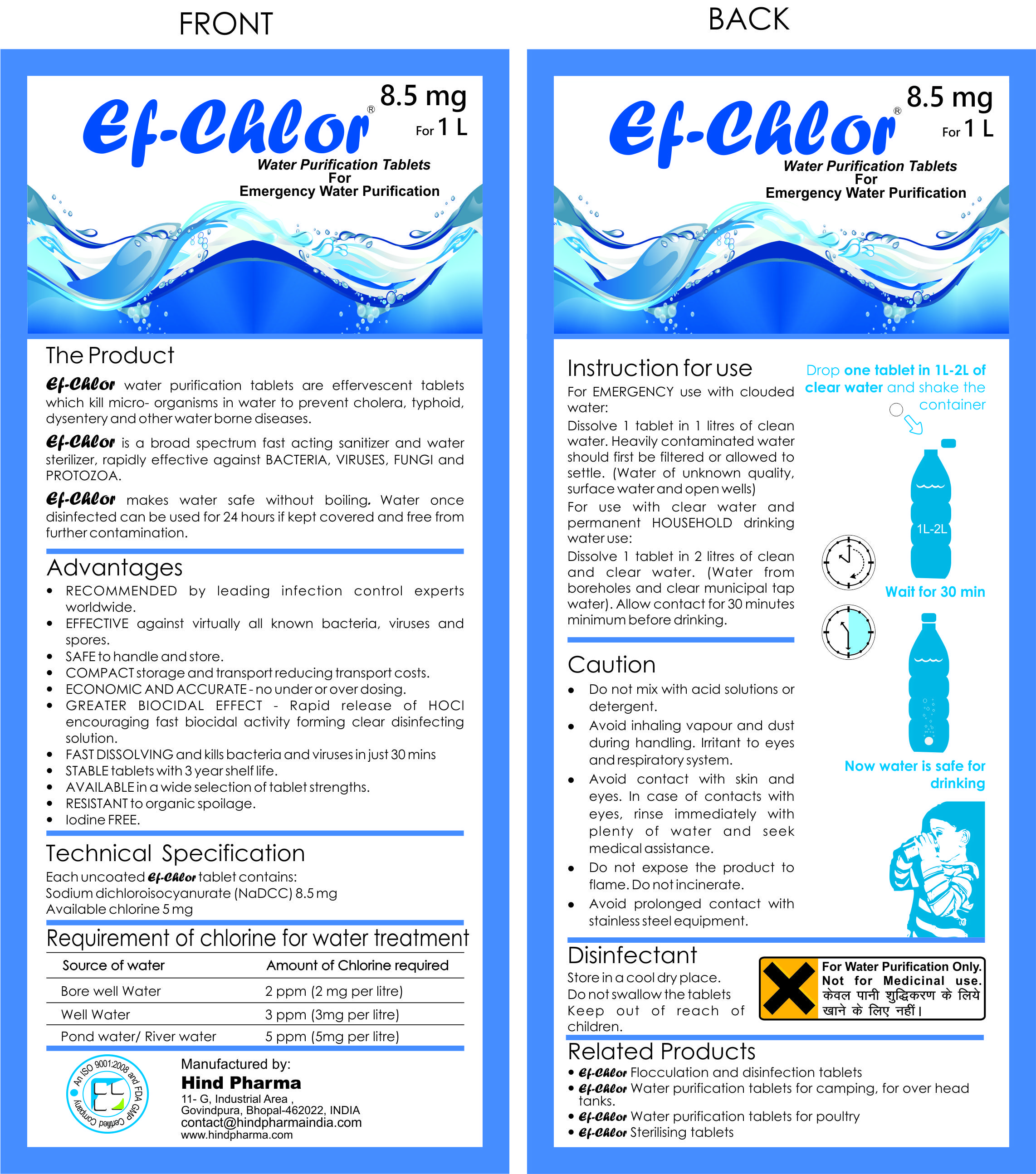 Travel and Camping 33 mg - 100 Tablets Ef-Chlor Water Purification Tablets//Drops Purifies 2.64 Gallons in 1 Tablet Survival - Potable Drinking Water Treatment Ideal for Emergencies